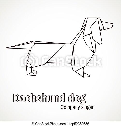 Illustration Of Origami Dog Dachshund Origami White Dachshund Dog