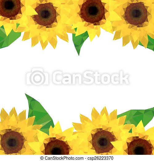 Illustration Of Origami Sunflower Background