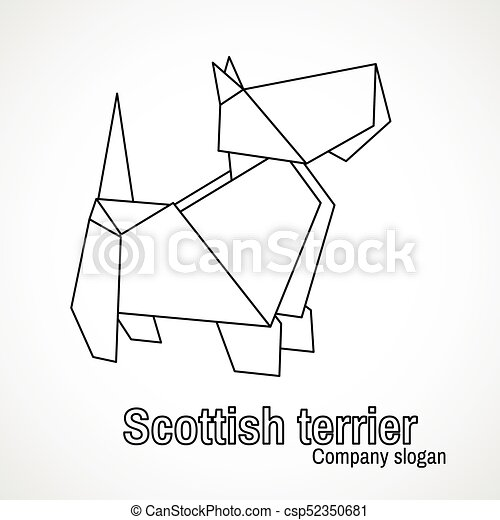 Illustration Of Outline Origami Dog Terrier