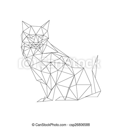 Illustration Of Outlined Origami Cat