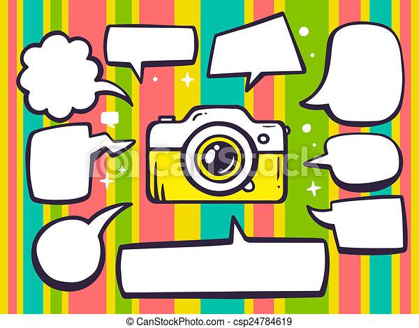 illustration of photo camera with speech comics bubbles o - csp24784619