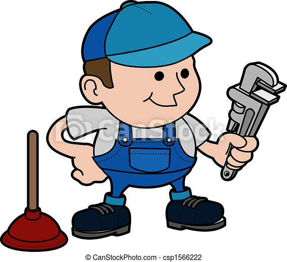 illustration of plumber illustration of male plumber with vector rh canstockphoto com plumber clipart free plumbing clip art free