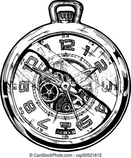 illustration of pocketwatch vector ink hand drawn clip art broken hearts week clipart broken heart man