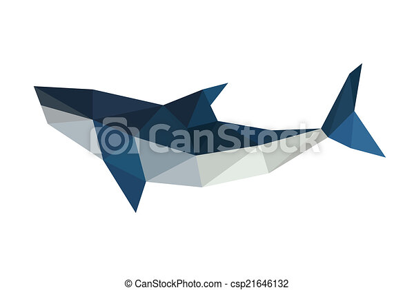 Illustration Of Poligonal Origami Shark Isolated On White