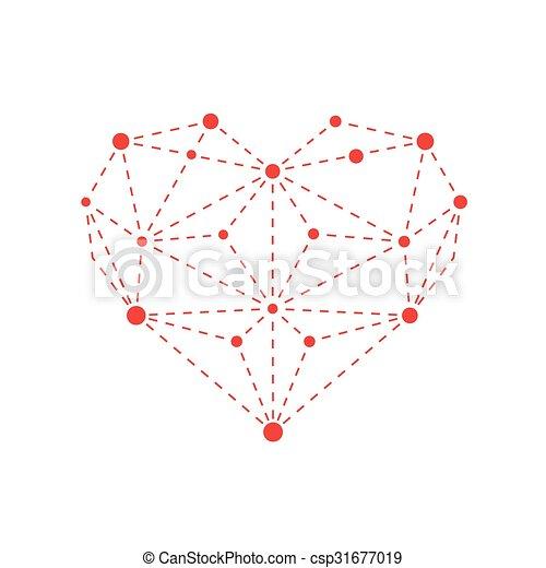 Illustration of polygonal red heart outline - csp31677019