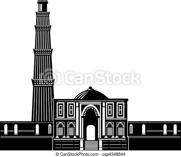 Illustration of qutab minar in delhi drawing - Search Clip ... Qutub Minar Sketch For Kids