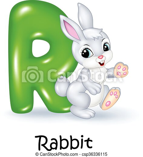 Illustration of R letter for Rabbit - csp36336115