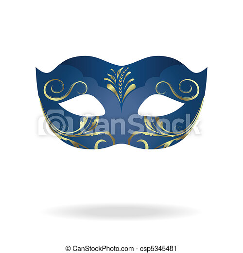 Illustration of realistic carnival or theater mask - csp5345481