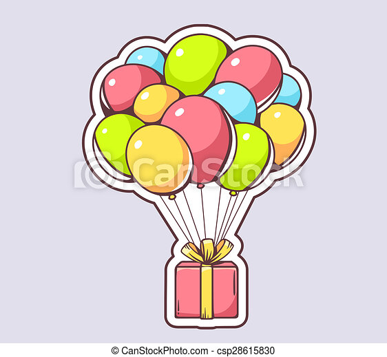 Illustration Of Red Gift Box Flying On Colorful Balloons On Gray