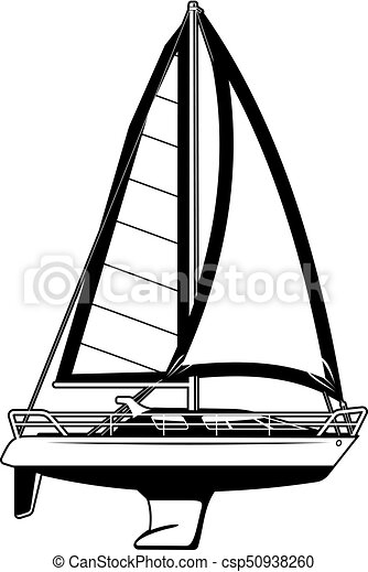 black and white illustration of sailing yacht clip art vector rh canstockphoto com