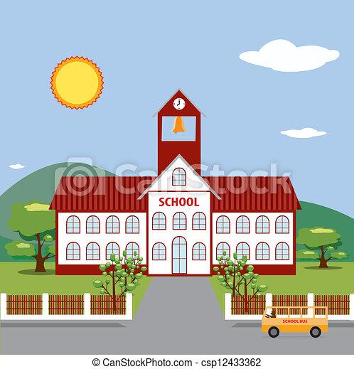 Illustration of School Building.  - csp12433362