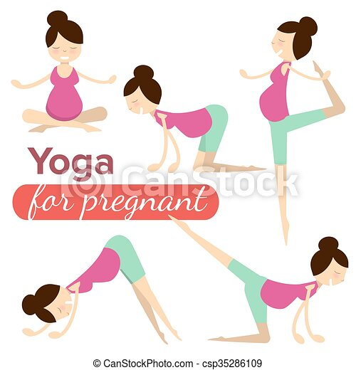 vector illustration of simple yoga poses for pregnant