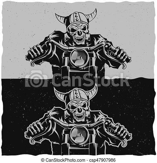 Illustration of skeleton riding on motorbike on dark and light backgrounds - csp47907986