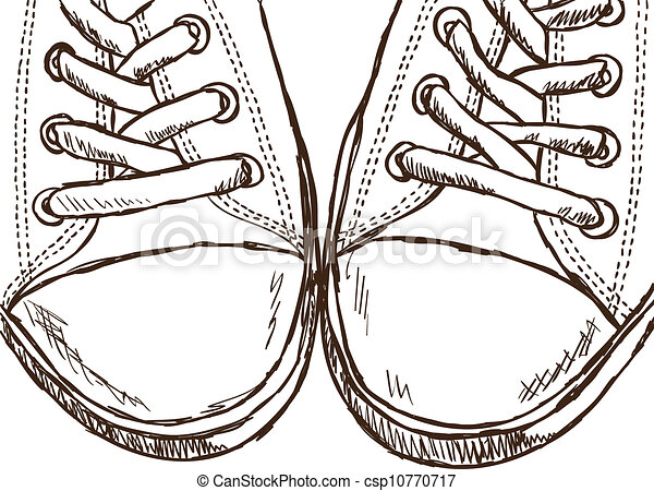 hanging converse shoes drawing. illustration of sneakers - hand drawn style illustration. hanging converse shoes drawing