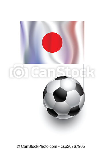 Illustration of Soccer Balls or Footballs with  pennant flag of Japan country team - csp20767965