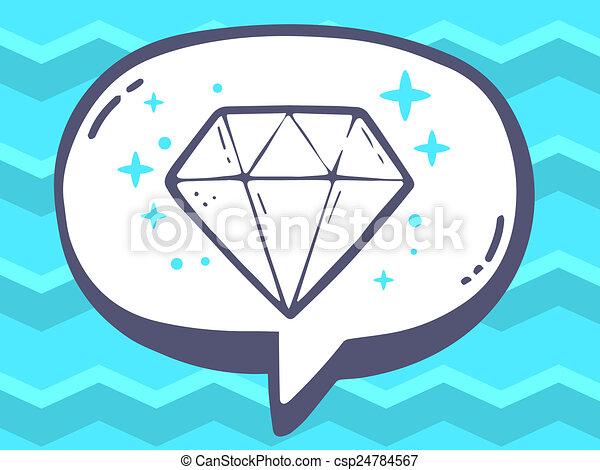 illustration of speech bubble with icon of diamond on blu - csp24784567