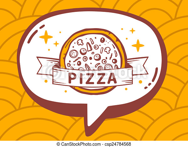 illustration of speech bubble with icon of pizza on yello - csp24784568