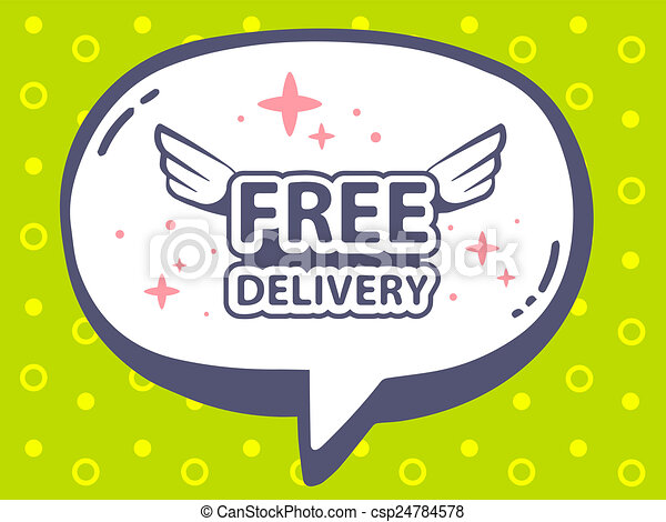 illustration of speech bubble with icon of free delivery - csp24784578
