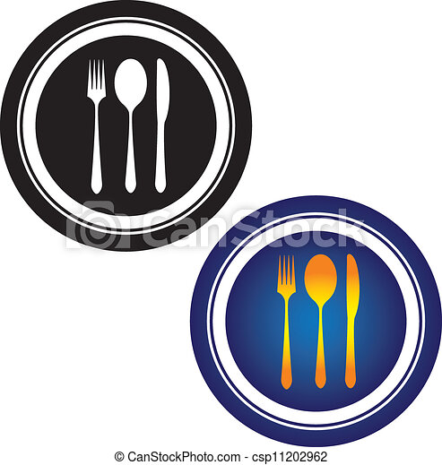 Illustration of spoon, fork, knife and plate in black and white and in yellow, orange and blue colors on white background. This can be used by hotels, restaurants, inns and online websites  - csp11202962