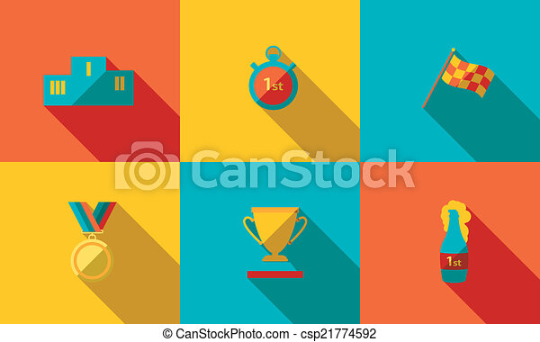 illustration of sport icon in flat designed with shadow - csp21774592