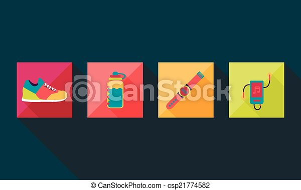 illustration of sport icon in flat designed without shadow - csp21774582