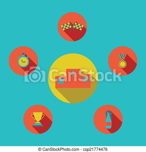 illustration of sport icon in flat designed with shadow - csp21774476