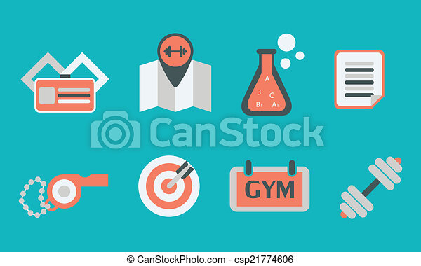 illustration of sport icon in flat designed without shadow - csp21774606