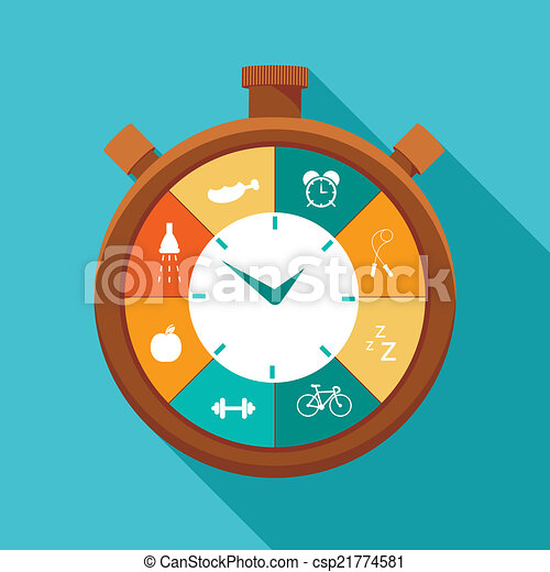 Illustration of sport regime stopwatch in flat designed - csp21774581