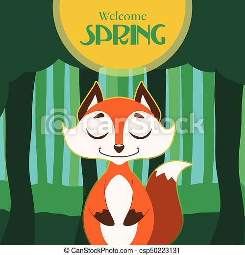 Illustration of spring card with stylized fox - csp50223131