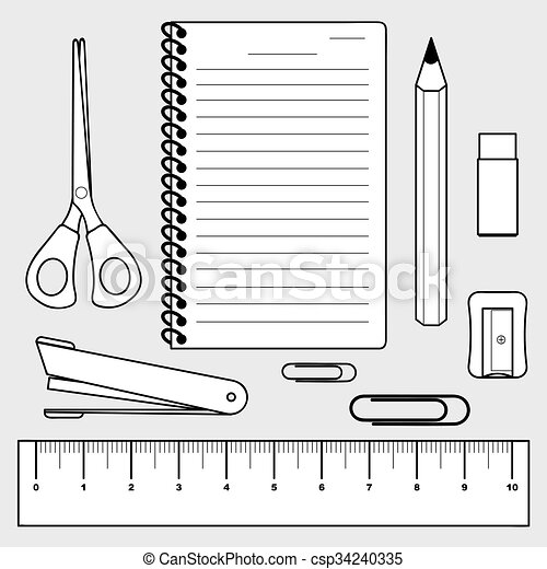 illustration of stationery set, office supplies - csp34240335