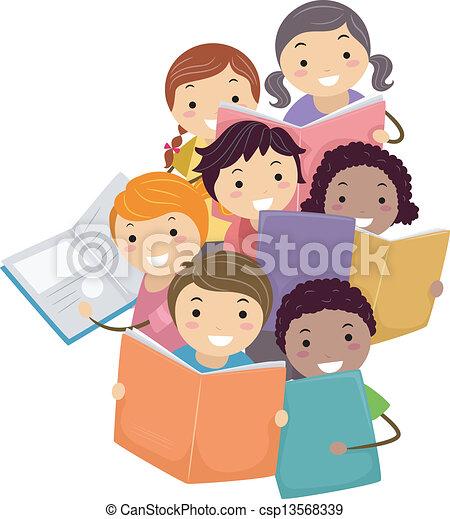 Illustration of Stickman Kids reading Books - csp13568339