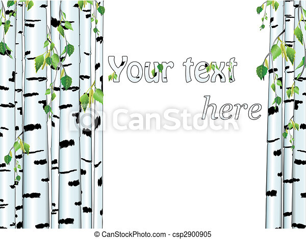 Illustration of the birch trunk frame - csp2900905