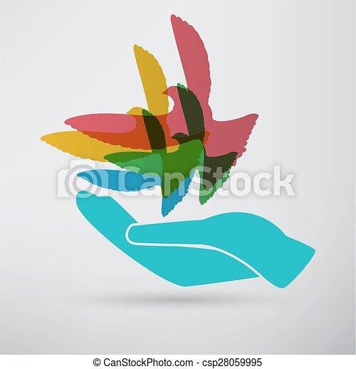 illustration of the dove in hand - csp28059995