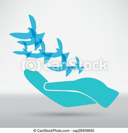 illustration of the dove in hand - csp28409840