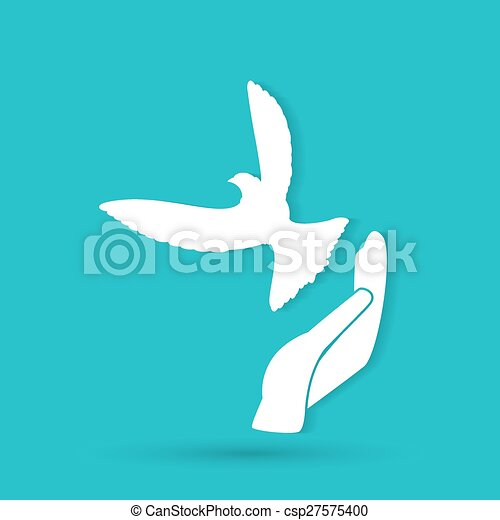 illustration of the dove in hand - csp27575400