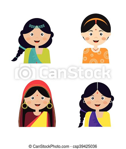 illustration of the face an indian girls in colorful sari rh canstockphoto com indian girl clipart black and white Girl Scout Clip Art