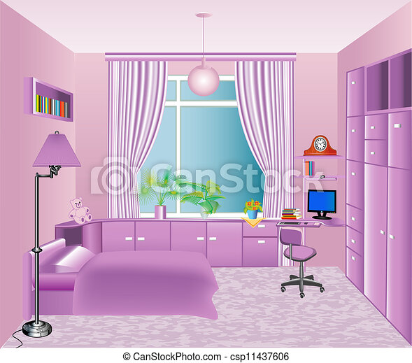 Illustration of the interior children\'s room in pink.