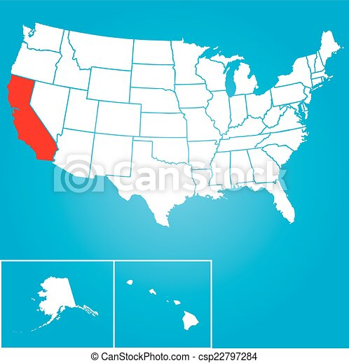 Illustration of the United States of America State - California - csp22797284