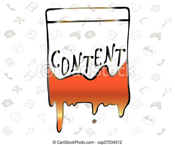 """Illustration of the word """"Content"""" flowing paint - Vector - csp37034312"""