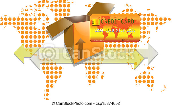 Illustration of transport box with creditcard and world background - csp15374652