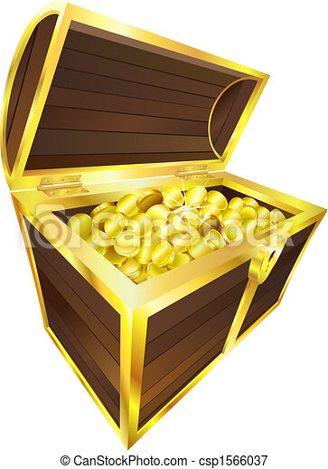 Illustration of treasure chest containing gold coins - csp1566037
