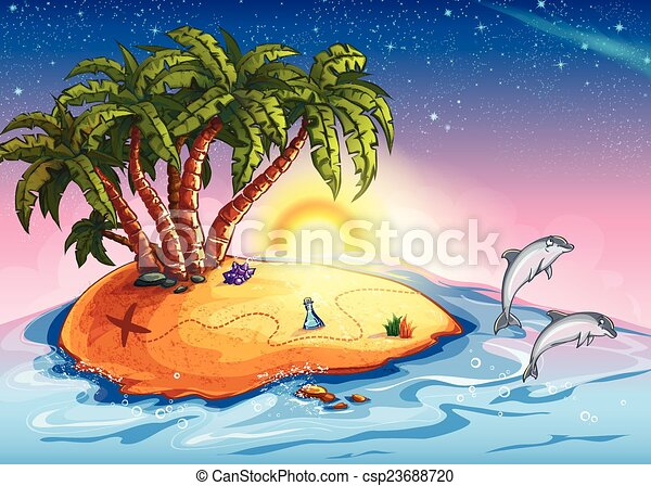 Illustration of Treasure Island in the ocean and dolphins - csp23688720