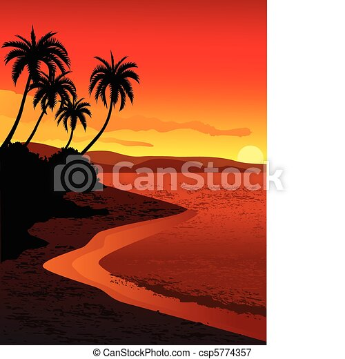 illustration of tropical beach - csp5774357