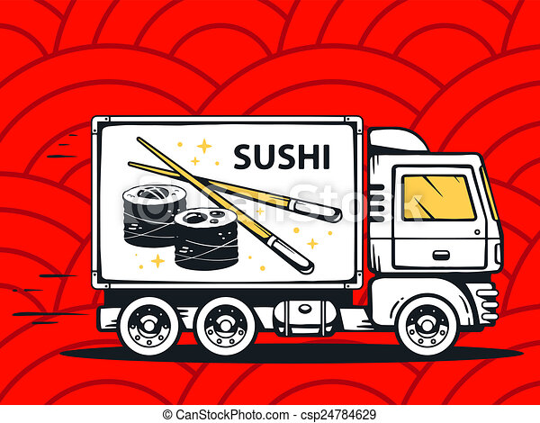 illustration of truck free and fast delivering sushi to c - csp24784629