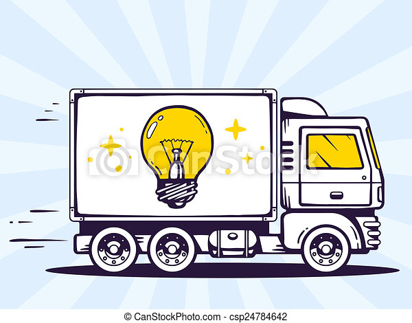 illustration of truck free and fast delivering light bulb - csp24784642