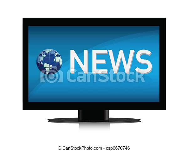 Illustration Of Tv Showing News On