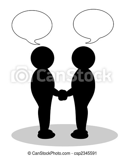 illustration of two people shaking hands - csp2345591