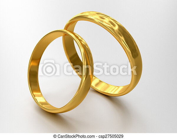 Illustration of two wedding rings stale each other clip art