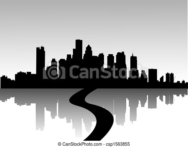 illustration of urban skylines  - csp1563855