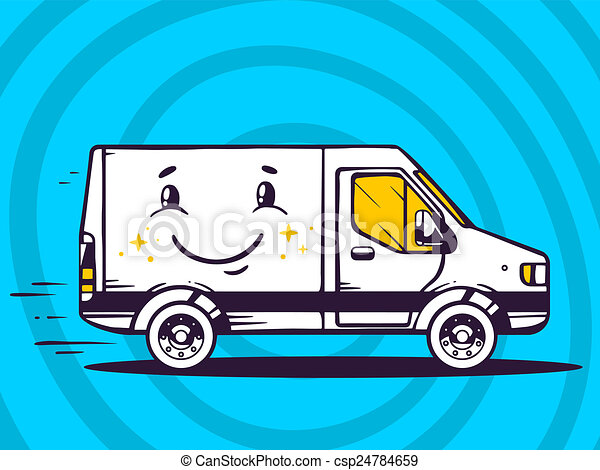 illustration of van with smile free and fast delivery to - csp24784659